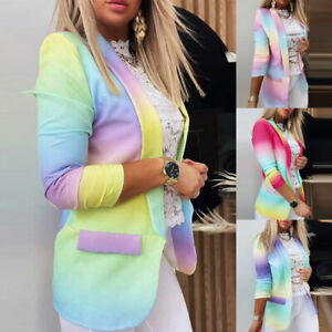 Damen Langärmlig Slim Farbverlauf Blazer Jacke Anzug Mantel Büro Arbeit Ol Jacke