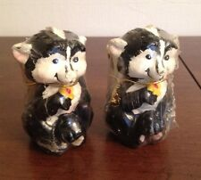 """Vintage Set Of 2 Skunk Figure Wax Candles 3 3/8"""" Tall Great Decorative Gift New"""