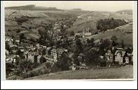 1956 Stempel Lauscha Thüringen DDR Postkarte Fernansicht mit Kirche Tal gelaufen