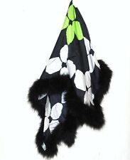 New Gail Toma Silk Scarf Marabou Feathers Scarve Wrap Shawl Designer $195 Flower