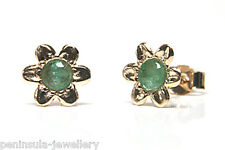 9ct Gold Emerald Studs Flower earrings Gift Boxed Made in UK