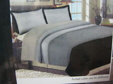 New 2 pcs Imperial Twin Duvet Cover and Sham Set Embroidered Pintuck Black Grey