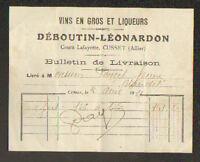"""CUSSET (03) VINS & LIQUEURS """"DEBOUTIN & LEONARDON"""" en 1921"""