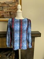 70s/80s Women's Small Check Blue Red Floral Puff Shoulder Blouse FLAW