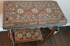 Set of chess table,backgammon,card games ,wood mosaic and mother of pearl