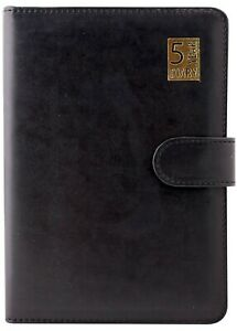 A5 - 5 Year Leather Bound WTV Undated Diary With Soft Magnetic Lock - Black