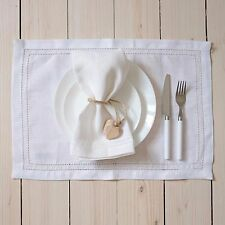 2-er Pack Leinen Platzsets Tischsets Elbla Weiss 50x35 cm