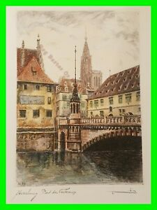 Early Antique Architect Cityscape Hand Tint Etching French Artist Louis Robin #4