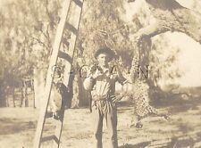 Org Vintage Cowboy Hunter RPPC- Name Robert Martin- Rifle- Jaguar- Mountain Lion