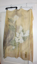MARIELLA BURANI over sized 100% Silk Scarf with Calla Lillies  Earthy Colors