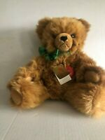 Hermann Teddy Bear Golden Mohair w-Green Ribbon Stitched Nose Jointed with Tags