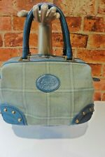 COUNTRY COGNAC GREEN & BLUE TARTAN WOOL SMALL TOTE BAG TOP ZIP FASTENING R95