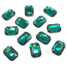 8 Swarovski 2602 Emerald Cut Crystal Flatback 8x5.5mm nail art green EMERALD NEW