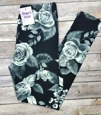 Black Gray Rose Leggings Ultra SOFT Floral Printed ONE SIZE OS