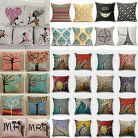 Vintage Cotton Linen Pillows Case Sofa Car Waist Throw Cushion Cover Home Decor