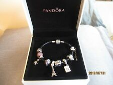 PANDORA BLACK LEATHER BRACELET WITH 7 CHARMS & 2 SPACERS