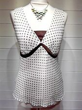 M&S Top ~ Size 14 ~ Cream Brown spot ~ Sleeveless - Casual - 1293