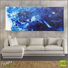 Huge Blue Textured Abstract Painting Art Canvas 240cm x 100cm Franko Australia