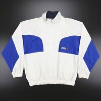 Vintage REEBOK Blue Off White 1/2 Zip Embroidered Sports Jacket Men's Size Large