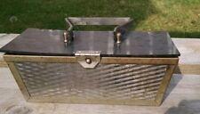 Art Deco Box Purse, Metal, Bakelite, Atomic Trapezoid with Reflective Metal