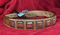 Nocona's Western silver/gold tone adornments Hand tooled leather Belt  size 28