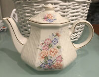 Vintage England Pottery Windsor Sadler Flower Embossed Trellis Teapot Gilded