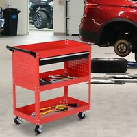 3-tier Tool Trolley Cart Roller Cabinet Storage Box Lockable Casters Red