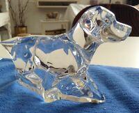 Baccarat Crystal Pointer Labrador Hunting Retriever Dog Figure Signed Art Glass