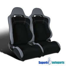 Black Cloth Gray Trim Sport Racing Seats w/Sliders Passenger+Driver Pair