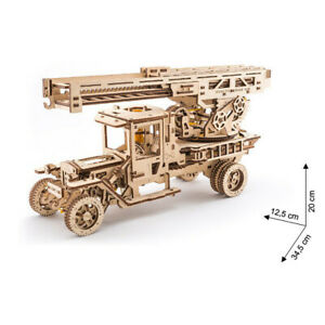 Ugears - Wood Model Building Fire Ladder Engine With Turntable 537 Pieces
