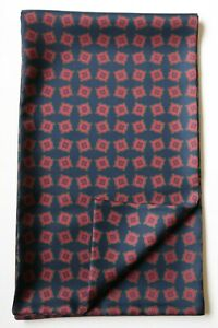 "Navy blue & burgundy red Rhombus hand printed silk scarf 65"" x 9.5"" Hand made"