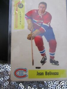 JEAN BELIVEAU 1958 Parkhurst #34, MONTREAL CANADIENS Hockey Card, RARE, OFFWHITE
