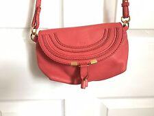 Chloe Marcie Small Mini Orange Leather Pochette Shoulder Bag Crossbody