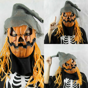 Halloween Party Scary Scarecrow Pumpkin Latex Mask Cosplay Costume Headgear Prop