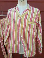 vintage pijamas mens 1950s or early 60s stripes tripped 2 piece soft penneys mod