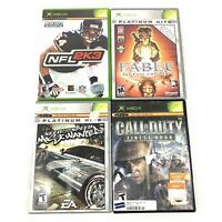 Lot of 4 Original Xbox Games Fable, Need for Speed, Call of Duty & NFL 2K3