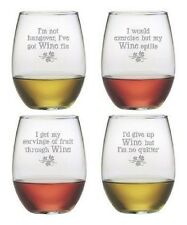 Stemless Wine Glasses Wine Justification You Set/4 Hand Etched Gifts Funny Gifts