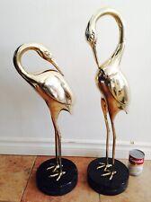 Vintage Huge Large Heavy Brass Brassware Heron Cranes Bird Marble Base - Pair