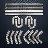 "16PC 2.5"" Stainless Steel T304 DIY Custom Mandrel Exhaust Pipe Straight&Bend Kit"