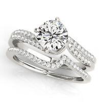 Solid 14k White Gold Engagement Rings Genuine 1.50Ct Moissanite Wedding Band Set
