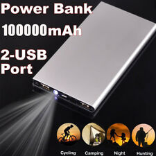 100000mAh Ultra Slim Power Bank 2 USB Battery Portable Charger For Mobile Phones