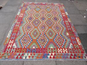 Vintage Kilim Traditional Hand Made Oriental Red Wool Large Kilim 243x180cm