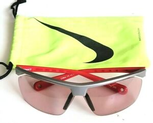 NIKE Tailwind 12 EV01713 656 PH 305 Sport Silver/Red Sunglasses w Duster Bag