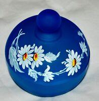 Westmoreland Daisy Blue Mist Satin Glass Lidded Compote Powder Jar Lid Trinket