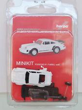 Herpa 013307 MINIKIT 1:87 - PORSCHE 911 TURBO, blanc - Neuf Emballage d'origine