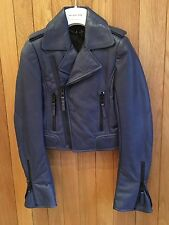 Balenciaga 2010 Marine Blue Leather Biker Jacket - Size 36, BNWT