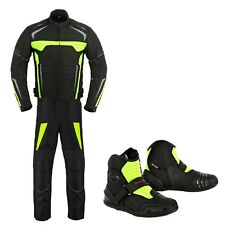 Motorbike Motorcycle Racing Suit Jacket / Trouser Biker Riding Leather Boot Shoe