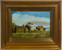 Framed Early 20th Century Oil - Cattle  in a Landscape