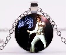 Elvis Presley Cabochon Necklace Pendant Silver 18 Inches US Seller