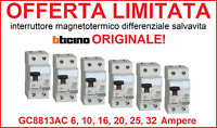 Interruttore magnetotermico differenziale salvavita BTICINO ORIGINALE GC8813AC